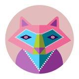 五颜六色的野生狐狸平的desing的传染媒介象 免版税库存照片