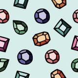 五颜六色的金刚石的无缝的样式 皇族释放例证