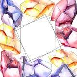 五颜六色的金刚石岩石首饰矿物 框架边界装饰品正方形 免版税图库摄影