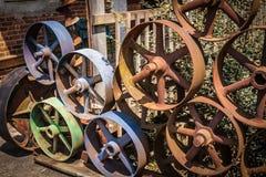 五颜六色的金属水车 库存照片