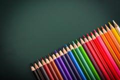 五颜六色的铅笔底下边界  库存图片