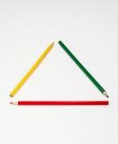 五颜六色的铅笔框架作为三角 库存图片
