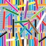 五颜六色的铅笔疯狂的无缝的样式 皇族释放例证