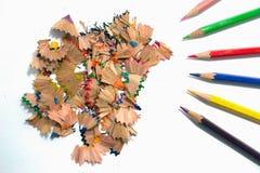 五颜六色的铅笔锯木屑 库存照片