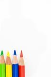 五颜六色的铅笔绿化,染黄,蓝色,红色,在白色背景 库存图片