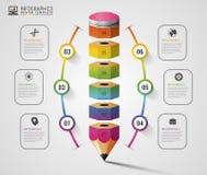 五颜六色的铅笔Infographics步选择 设计现代模板 也corel凹道例证向量 库存照片
