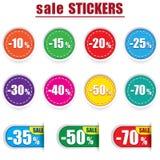 五颜六色的销售贴纸和标签 动画片重点极性集向量 免版税图库摄影