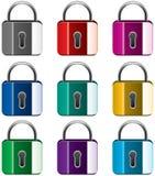 五颜六色的锁定金属 向量例证