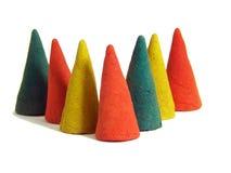 五颜六色的锥体香火 免版税库存图片