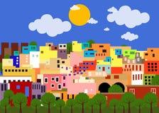 五颜六色的镇在墨西哥 库存图片