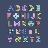 五颜六色的镶边滑稽的字体 在减速火箭的样式的传染媒介英语字母表 嬉戏的拉丁字母 皇族释放例证
