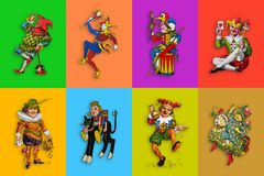 五颜六色的长方形的八个卡片说笑话者 皇族释放例证