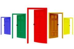 五颜六色的门开张 免版税图库摄影