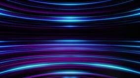 五颜六色的闪烁和弯曲的蓝色和紫色线的动画在黑背景的 抽象背景 库存例证