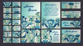 五颜六色的问候邀请卡片例证集合 花设计观念汇集 库存照片