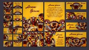 五颜六色的问候邀请卡片例证集合 花设计观念汇集 图库摄影