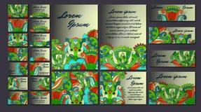 五颜六色的问候邀请卡片例证集合 花设计观念汇集 免版税库存图片