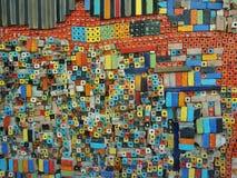五颜六色的陶瓷砖墙壁艺术 库存图片