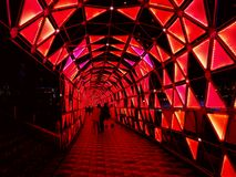 五颜六色的隧道照明,东京巨蛋 库存照片
