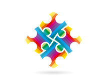 五颜六色的难题编结形成在运动的一个整个正方形 向量图形例证模板 图库摄影