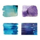 五颜六色的集合被隔绝的水彩刷子油漆纹理 免版税库存图片