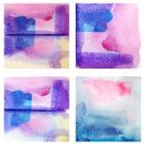 五颜六色的集合被隔绝的水彩油漆纹理 库存照片