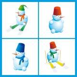 五颜六色的雪人集合 库存图片