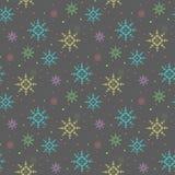 五颜六色的雪花无缝的样式 冬天不尽的背景eps10 库存图片