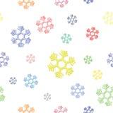 五颜六色的雪花无缝的背景  库存图片