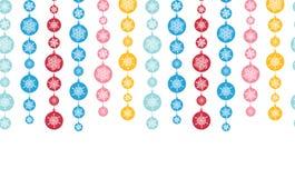 五颜六色的雪花条纹水平无缝 库存图片