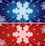 五颜六色的雪花横幅 库存图片