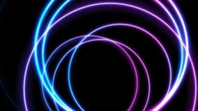 五颜六色的霓虹发光的圈子抽象录影动画 皇族释放例证