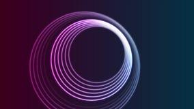 五颜六色的霓虹发光的圈子抽象录影动画 向量例证