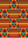 五颜六色的非洲印刷品 布料kente 无缝的模式 库存图片