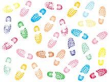 五颜六色的鞋子打印 库存照片