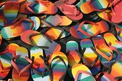 五颜六色的鞋子清单 免版税库存照片