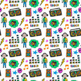 五颜六色的音乐无缝的样式 乐趣颜色 乱画音乐背景 免版税库存图片