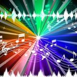 五颜六色的音乐背景意味亮光射线和唱歌 免版税库存照片