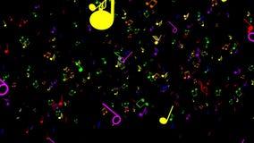 五颜六色的音乐附注 黑色背景 向量例证