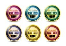 五颜六色的顶部Aktuell Neu按钮集 免版税库存照片