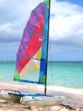 五颜六色的风帆冲浪者 库存照片