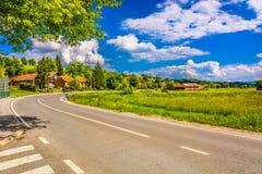 五颜六色的风景在普雷格拉达, Zagorje 图库摄影