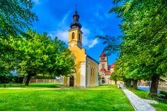 五颜六色的风景在Krizevci,克罗地亚 免版税库存照片