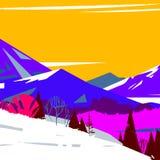 五颜六色的风格化山的图象与树的 库存图片