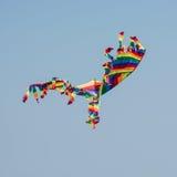 五颜六色的飞行风筝天空 库存照片