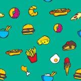 五颜六色的食物无缝的样式 库存照片