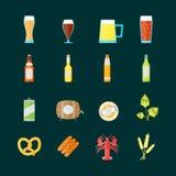 五颜六色的饮用的啤酒集合 向量 向量例证
