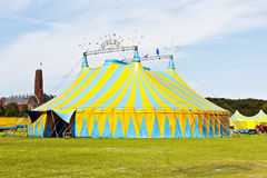 五颜六色的马戏场帐篷 库存照片