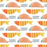 五颜六色的鱼动画片无缝的传染媒介样式 向量例证