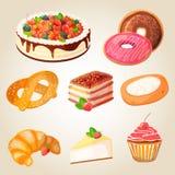 五颜六色的鲜美蛋糕和面包店的优质收藏 库存图片